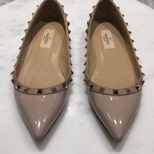 Valentino Poudre Patent Leather Rockstud Flats sz7